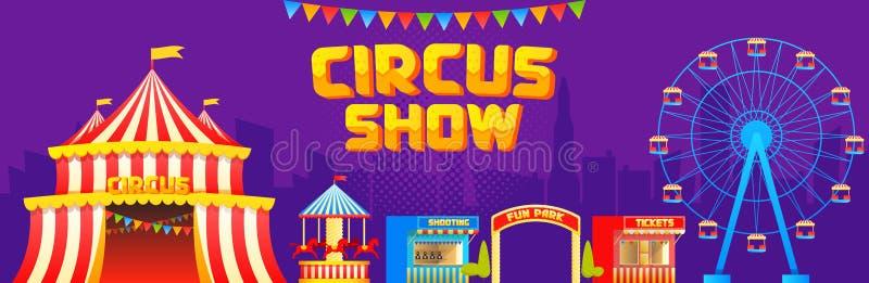 Bandera del circo y de las atracciones stock de ilustración