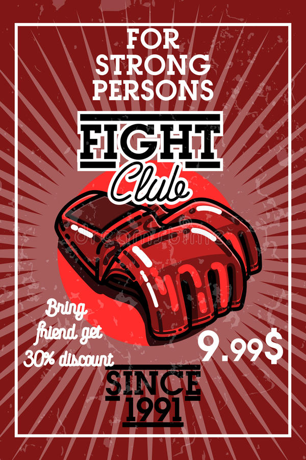 Bandera del club de la lucha del vintage del color ilustración del vector