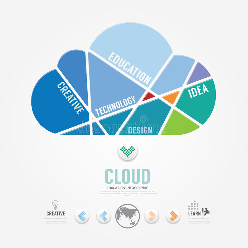 Bandera del color de la nube de la plantilla de Infographic vector del concepto ilustración del vector