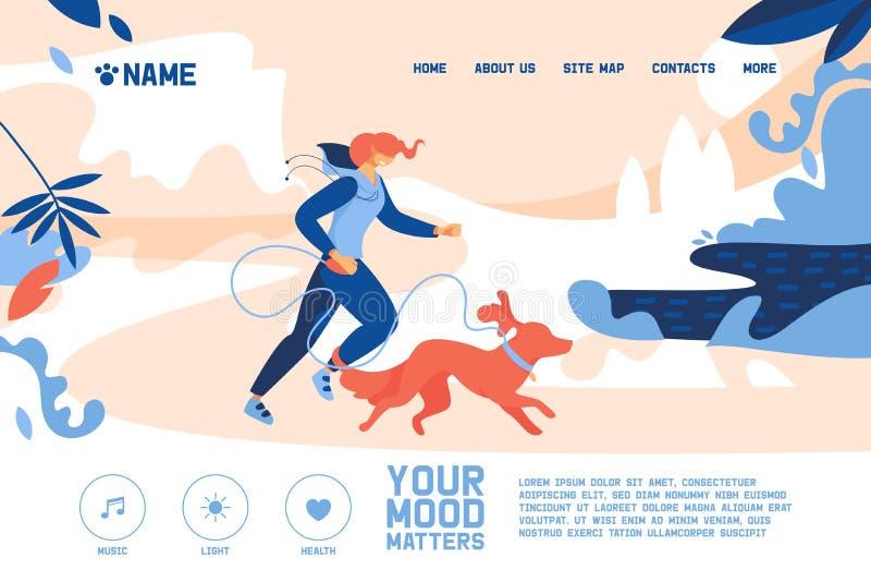 Bandera del concepto con la mujer joven que activa con el perro anaranjado grande Ejemplo al aire libre con escena no-urbana del  libre illustration