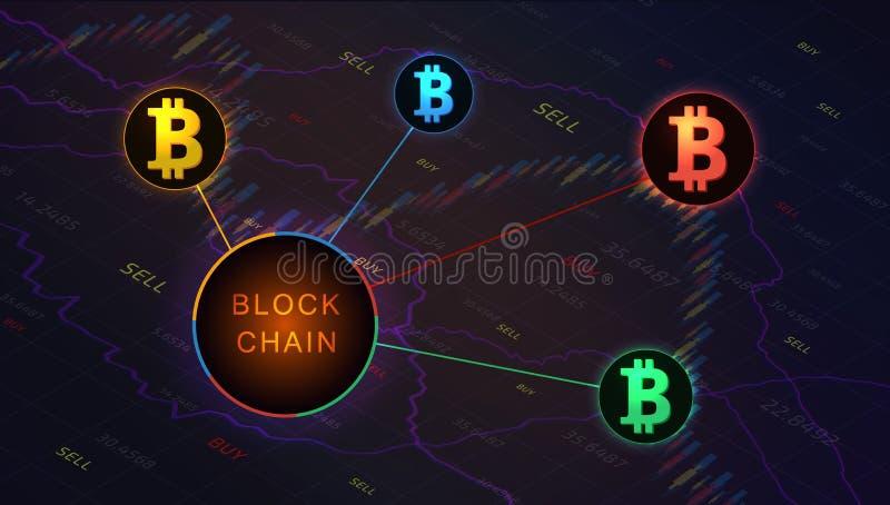 Bandera del concepto de Blockchain en el fondo del gráfico del mercado de acción ilustración del vector
