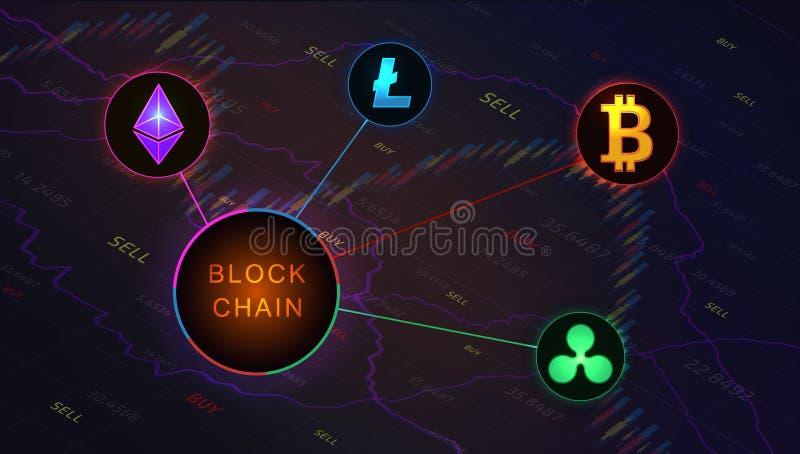 Bandera del concepto de Blockchain en el fondo del gráfico del mercado de acción stock de ilustración