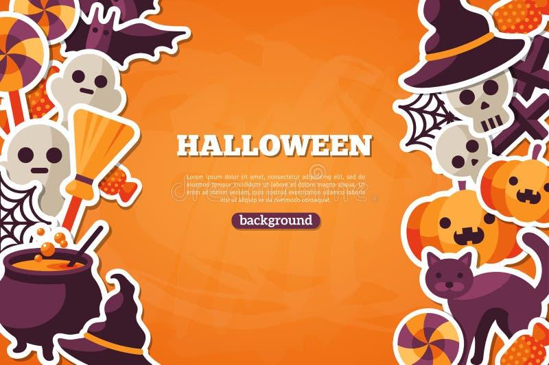 Bandera del concepto de Halloween con el icono plano en naranja ilustración del vector