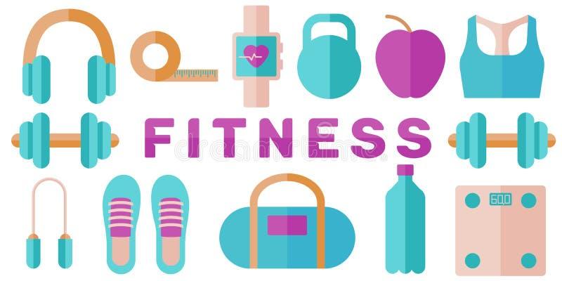 Bandera del concepto de la aptitud: dieta, coche personal Vector en estilo plano libre illustration