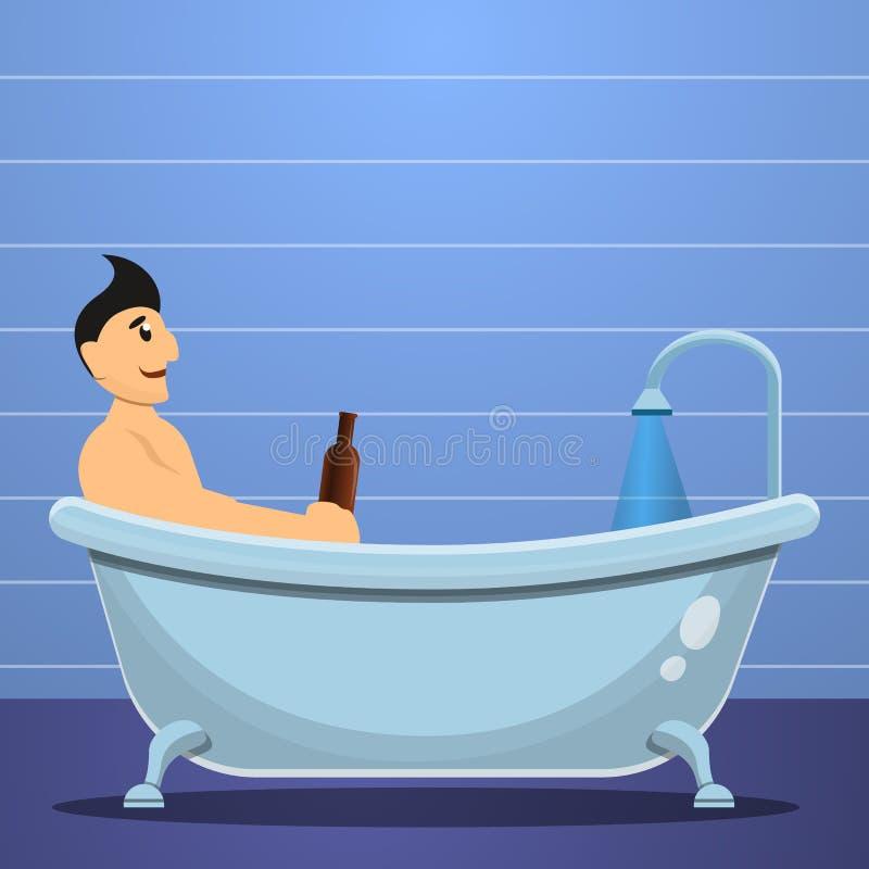 Bandera del concepto de la bañera de la cerveza del hombre, estilo de la historieta ilustración del vector