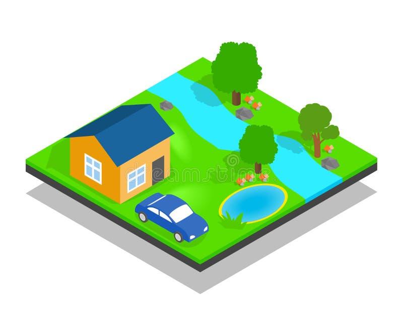 Bandera del concepto de la casa de campo, estilo isométrico ilustración del vector