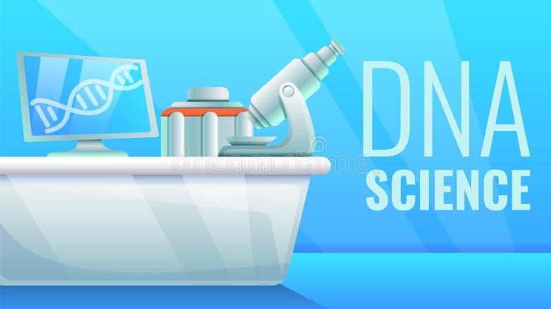 Bandera del concepto de la ciencia de la DNA, estilo de la historieta ilustración del vector