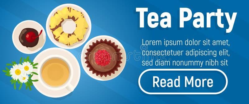 Bandera del concepto de la fiesta del té, estilo isométrico libre illustration