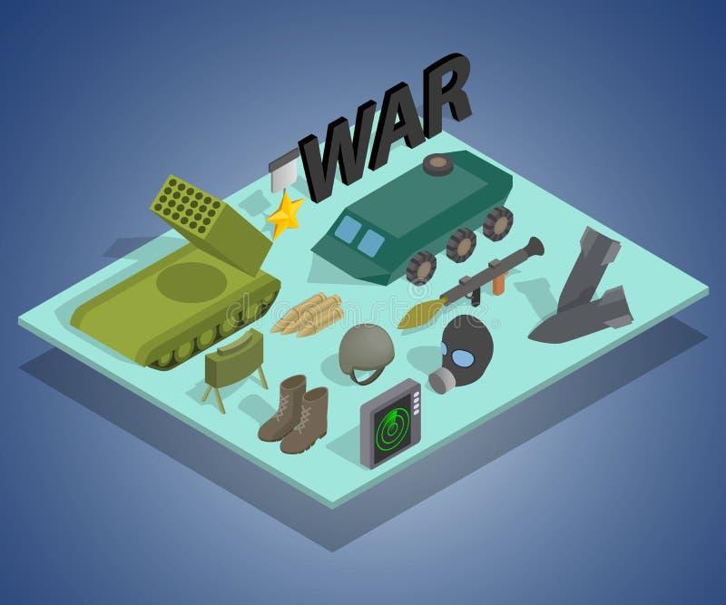 Bandera del concepto de la manera de la guerra, estilo isométrico stock de ilustración