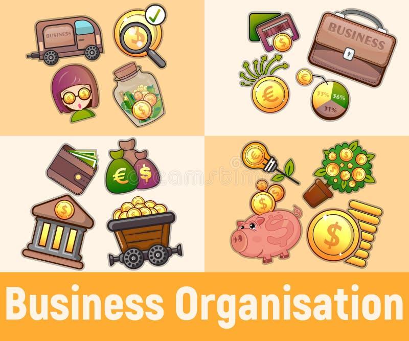 Bandera del concepto de la organización de negocio, estilo de la historieta libre illustration