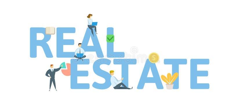 Bandera del concepto de la palabra de REAL ESTATE Concepto con la gente, las letras, y los iconos Ejemplo plano del vector Aislad libre illustration