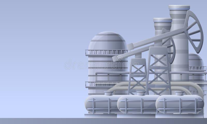 Bandera del concepto de la planta de la refinería de petróleo, estilo de la historieta stock de ilustración