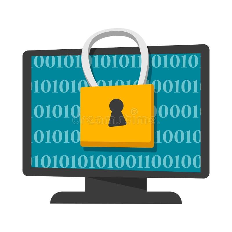 Bandera del concepto de la protección de datos y de la aislamiento de Digitaces libre illustration
