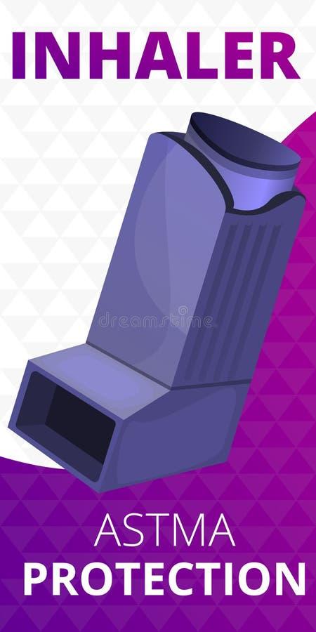 Bandera del concepto de la protección del inhalador, estilo de la historieta stock de ilustración