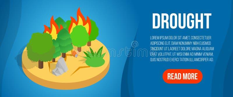 Bandera del concepto de la sequía, estilo isométrico stock de ilustración