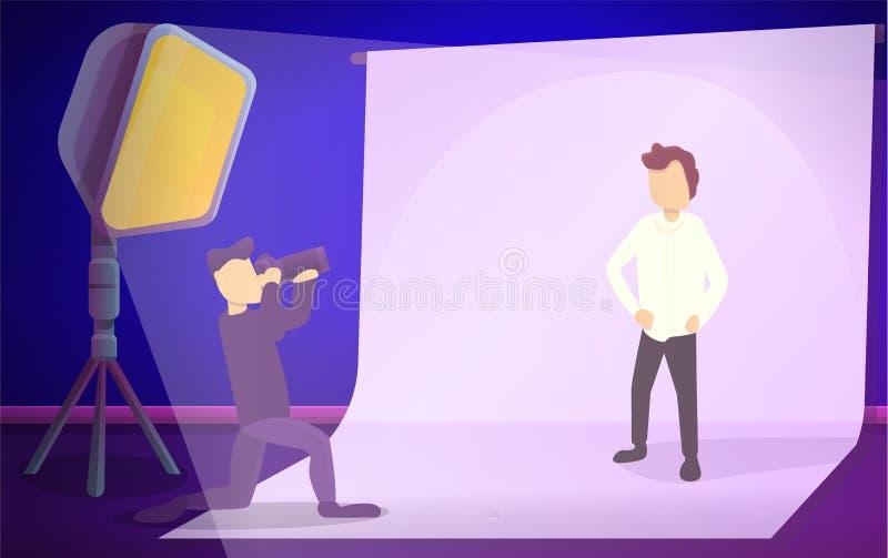 Bandera del concepto de la sesión de foto del estudio del hombre, estilo de la historieta ilustración del vector