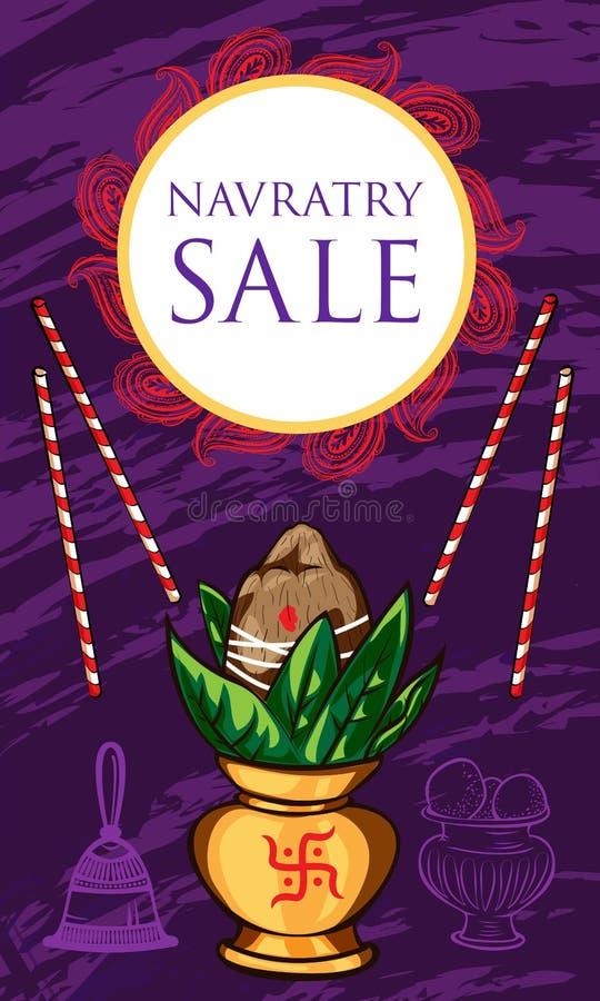 Bandera del concepto de la venta de Navratry, estilo de la historieta ilustración del vector