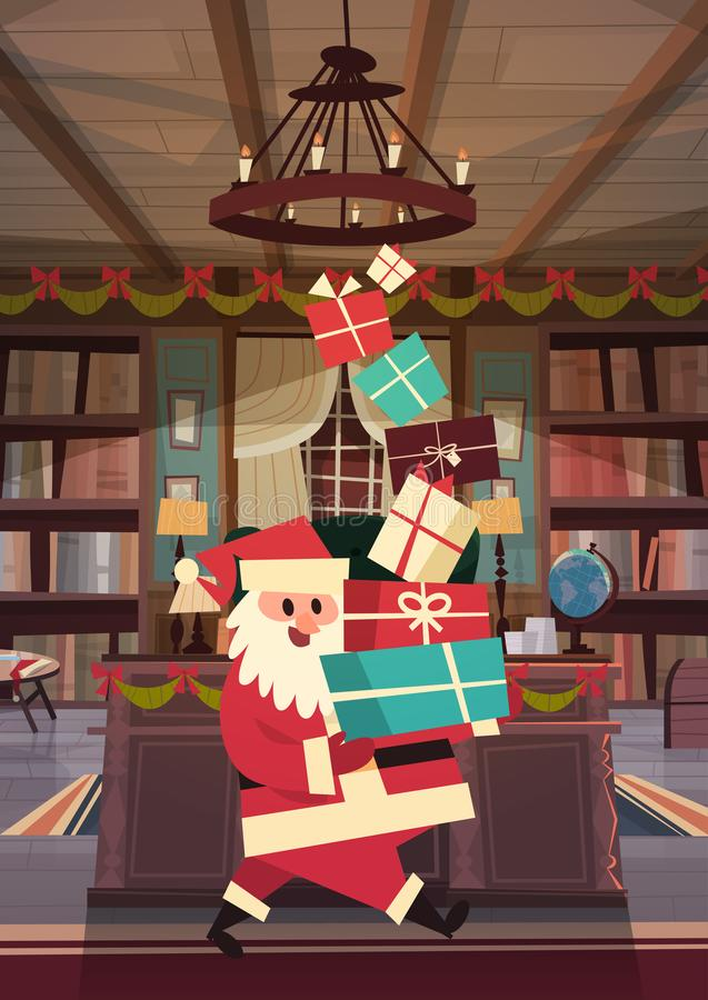 Bandera del concepto de los días de fiesta de Santa Holding Present Stack Winter de la Feliz Navidad y de la tarjeta de felicitac libre illustration