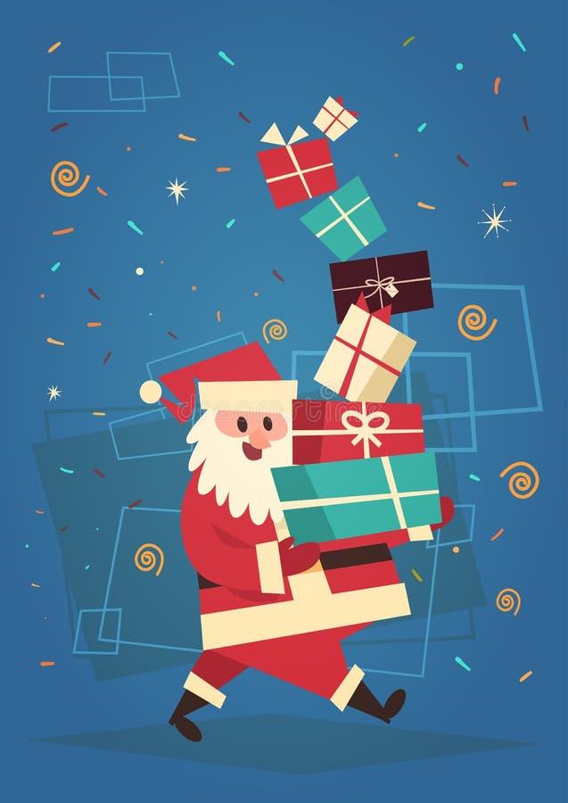Bandera del concepto de los días de fiesta de Santa Holding Present Stack Winter de la Feliz Navidad y de la tarjeta de felicitac ilustración del vector