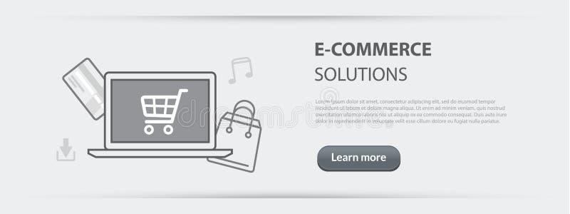 Bandera del concepto del negocio del desarrollo de las soluciones del comercio electrónico libre illustration