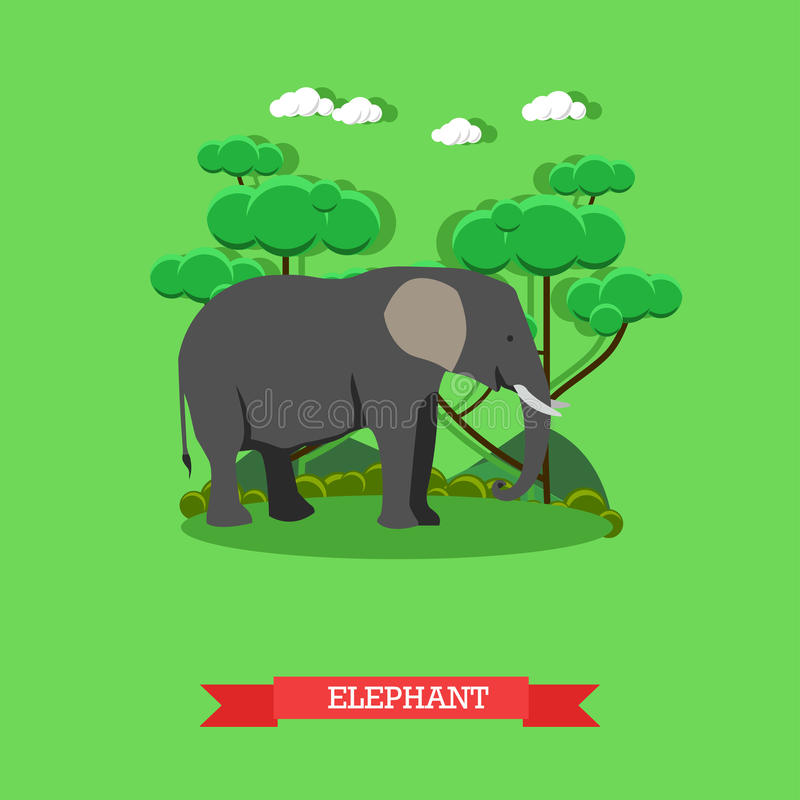 Bandera del concepto del parque zoológico Animal del elefante de la fauna Ejemplo del vector en diseño plano del estilo ilustración del vector