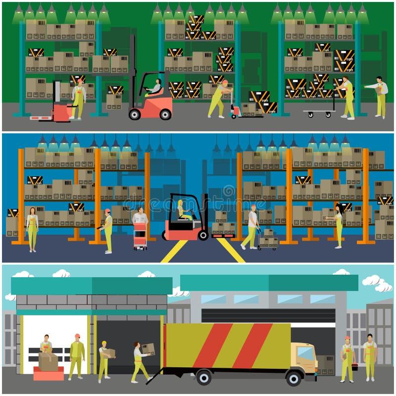Bandera del concepto del servicio logístico y de entrega Almacene el interior libre illustration