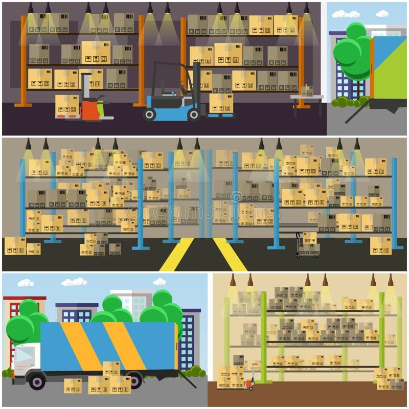 Bandera del concepto del servicio logístico y de entrega Almacene el interior Ejemplo del vector en diseño plano del estilo libre illustration