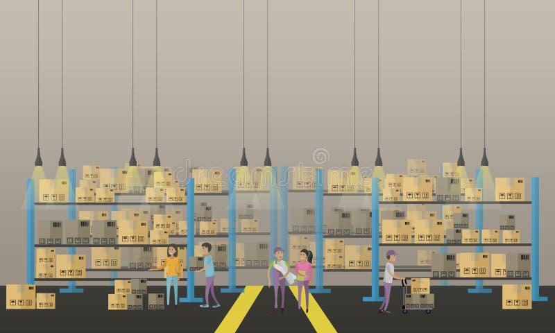 Bandera del concepto del servicio logístico y de entrega Almacene el interior Ilustración del vector ilustración del vector