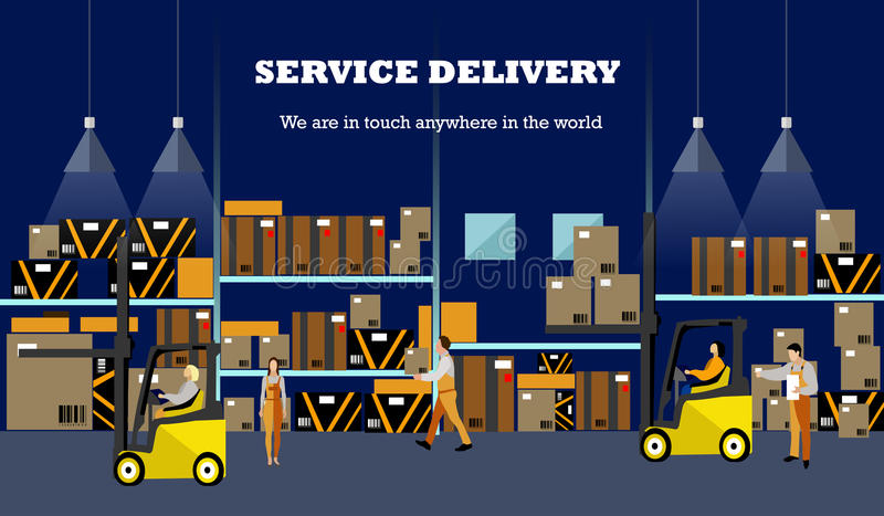Bandera del concepto del servicio logístico y de entrega Cartel del interior de Warehouse Ejemplo del vector en diseño plano del  ilustración del vector