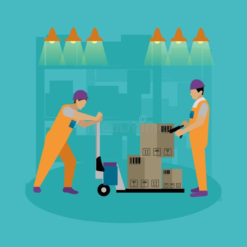 Bandera del concepto del servicio logístico y de entrega Trabajadores de Warehouse ilustración del vector