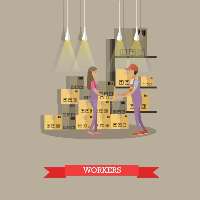 Bandera del concepto del servicio logístico y de entrega Trabajadores de Warehouse Ejemplo del vector en diseño plano del estilo  stock de ilustración