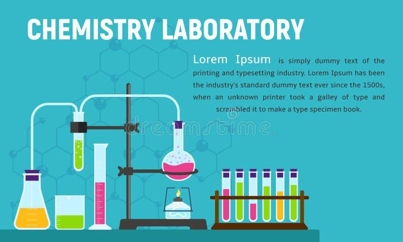 Bandera del concepto del laboratorio de química, estilo plano libre illustration