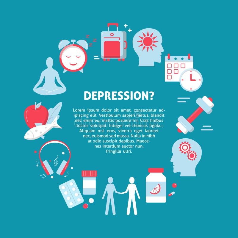 Bandera del concepto del tratamiento de la depresión en estilo plano stock de ilustración