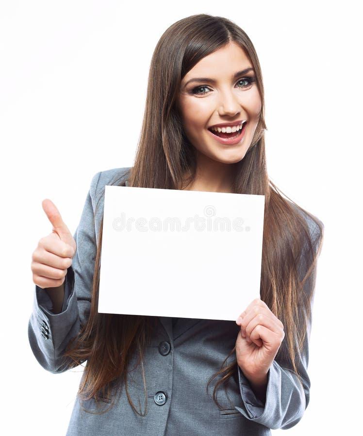 Bandera del control de la mujer de negocios, retrato blanco del fondo Pulgar u fotos de archivo libres de regalías