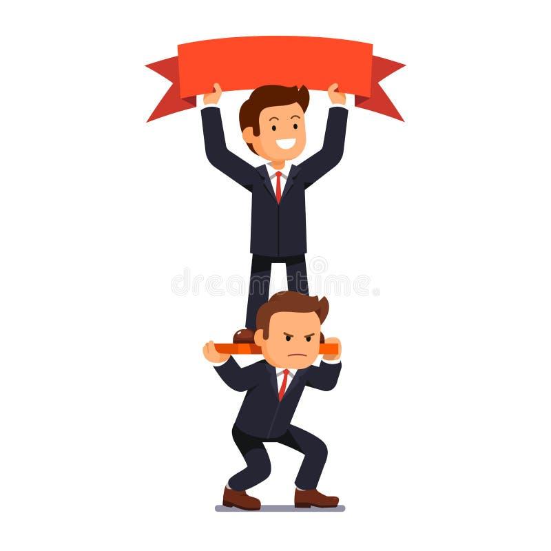 Bandera del control del hombre de negocios que se coloca en hombros ilustración del vector