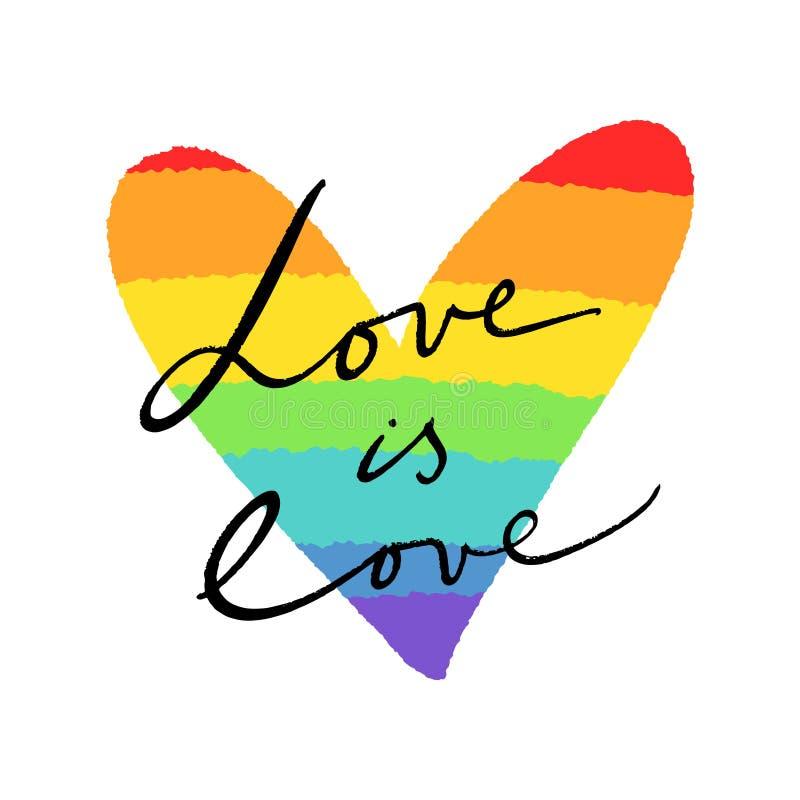Bandera del corazón de LGBT Colores exhaustos de la mano del arco iris ilustración del vector