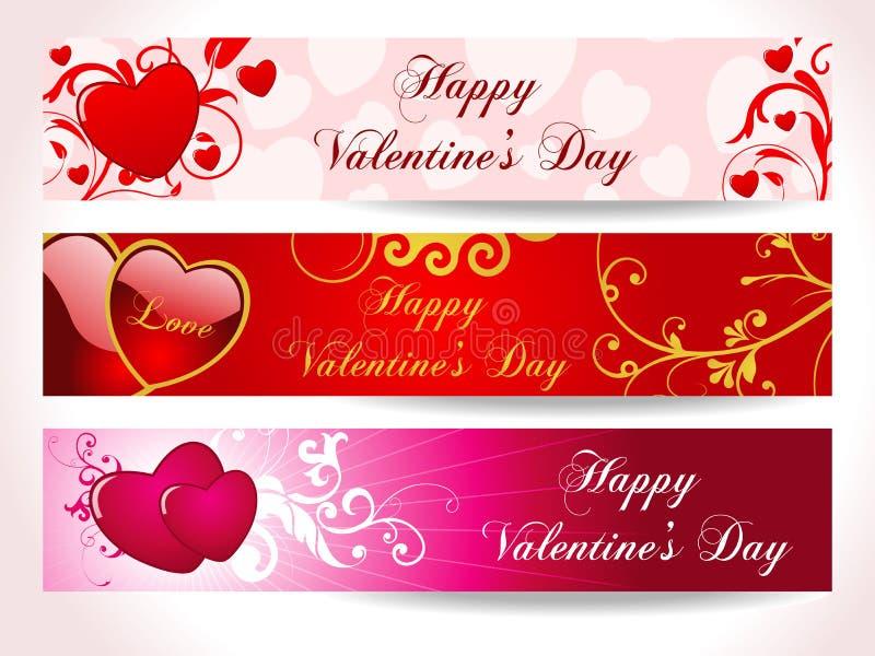 Bandera del corazón de tres tarjetas del día de San Valentín ilustración del vector