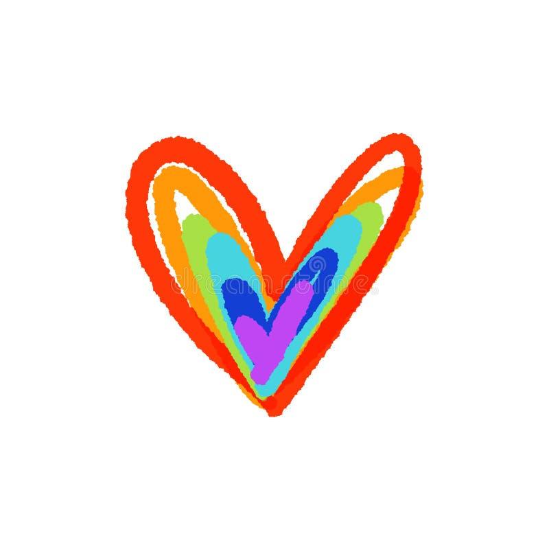 Bandera del corazón del icono LGBT del vector Colores exhaustos de la mano del arco iris ilustración del vector