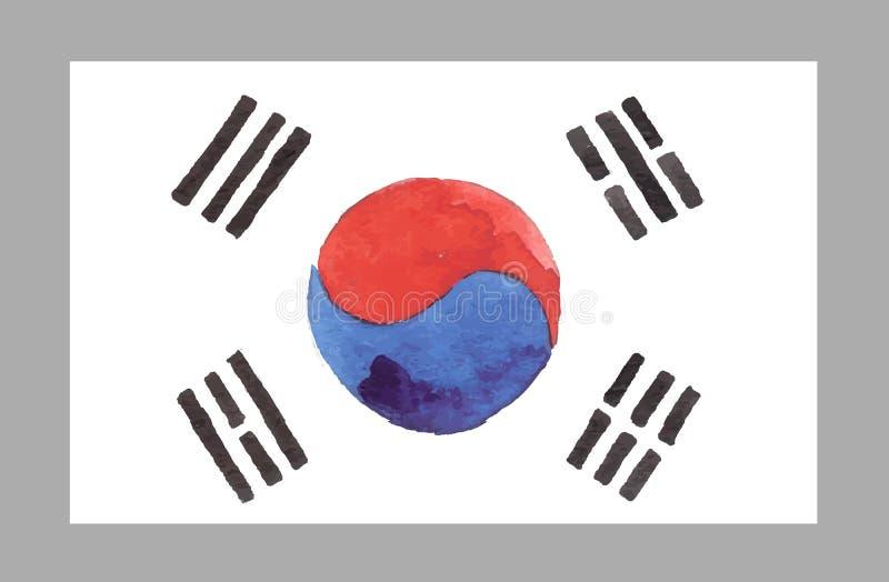 Bandera del coreano de la acuarela Ilustración del vector stock de ilustración