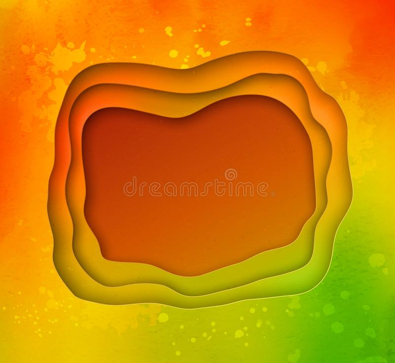 Bandera del corte del papel coloreado del follaje del otoño stock de ilustración