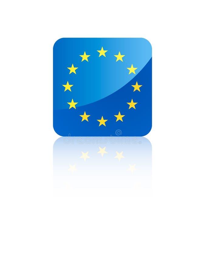 bandera del cuadrado 3D de la UE ilustración del vector