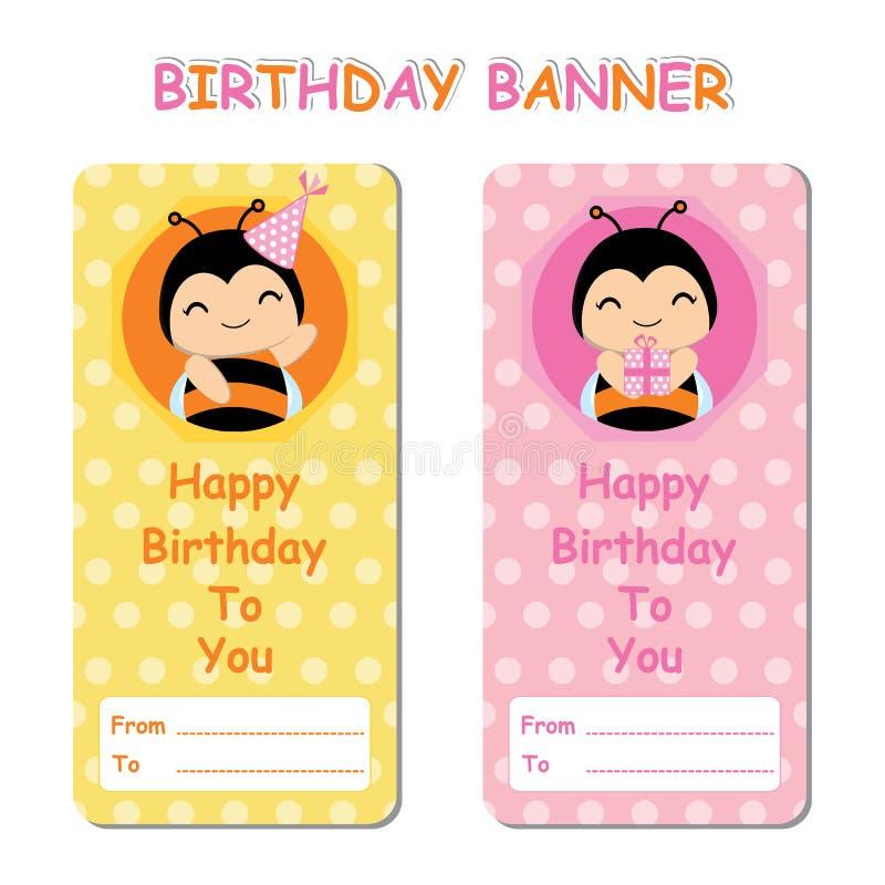 Bandera del cumpleaños con las abejas lindas en el fondo rosado anaranjado conveniente para el fondo del cumpleaños stock de ilustración