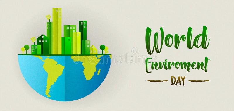 Bandera del día del ambiente de la ciudad y de la tierra verdes stock de ilustración