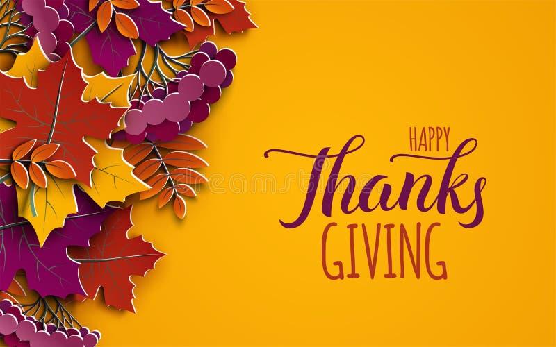Bandera del Día de Acción de Gracias con el texto de la enhorabuena Hojas del árbol del otoño en fondo amarillo Diseño otoñal, ca stock de ilustración