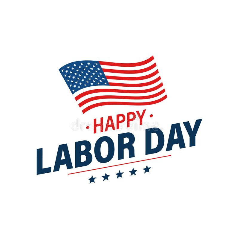 Bandera del día de fiesta del Día del Trabajo Tarjeta de felicitaci?n feliz del D?a del Trabajo Indicador de los E Los Estados Un ilustración del vector