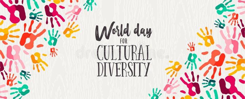 Bandera del día de la diversidad cultural de las manos humanas del color stock de ilustración