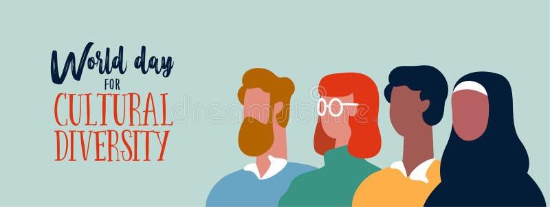 Bandera del día de la diversidad cultural del mundo para la ayuda social ilustración del vector