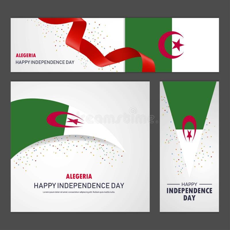 Bandera del Día de la Independencia de Alegeria y sistema felices del fondo ilustración del vector
