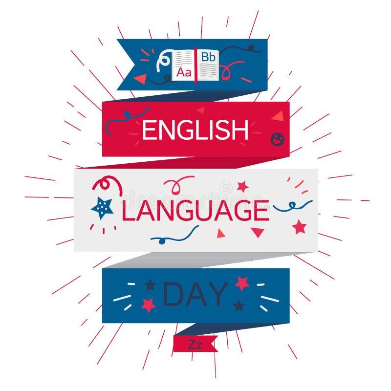 Bandera del día de la lengua inglesa ilustración del vector