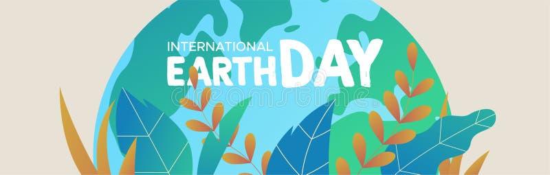 Bandera del Día de la Tierra del planeta verde con las hojas stock de ilustración